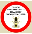 Sticker with Warning sign insect wasp icon Wasp vector image vector image