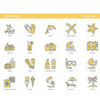 summertime yellow outline icons vector image vector image