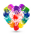 teamwork hands print heart shape logo vector image vector image