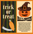 trick or treat halloween holiday postcard vector image