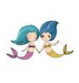 Two little cartoon mermaid Siren vector image