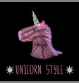 unicorn head embroidery vector image vector image