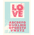 Valentine block letter font vector image vector image
