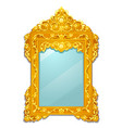 vintage mirror with golden ornate florid frame vector image