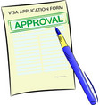 visa application form with approval stamp vector image vector image