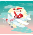 Waving Santa Claus flying on the plane with sack vector image