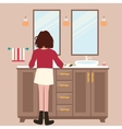 woman girl washing hands on washbasin faucet sink vector image vector image