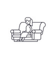 woman sitting on the sofa line icon sign vector image vector image