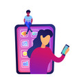 young woman with laptop sitting on huge smartphone vector image vector image