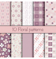 Cute floral seamless patterns collection vector image
