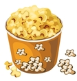 Cardboard popcorn bucket food isolated vector image