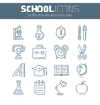 Set of school thin lined flat icons vector image