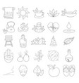 outline spa icons wellness healthy lifestyle vector image