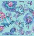 turquoise floral lotus and peony pattern vector image
