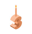 3 number and candles for birthday three figure vector image