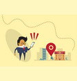 asian business man using map navigation in cell vector image