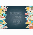 back to school side element stickers on blackboard vector image vector image