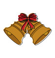 bell with ribbon bow ornament christmas related vector image