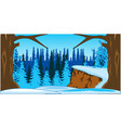 bright and colorful landscape winter wood vector image vector image