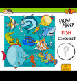 counting fish educational activity game vector image