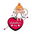 cute cupid girl on a heart shape vector image vector image