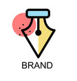 fountain pen nib icon for brand on white vector image vector image