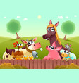 funny farm animals smiling near fence vector image vector image