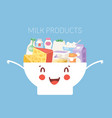 funny kawaii milk products in cute bowl poster vector image vector image