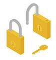 golden locked unlocked padlock and key isometric vector image vector image