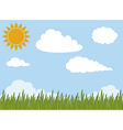 green grass and clouds vector image