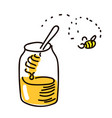 honey with wooden honey dipper simple sketch pen vector image vector image