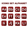 Icons set alphabet on the red background vector image