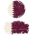 Qatari round and square grunge flags vector image vector image