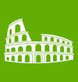 roman colosseum icon green vector image