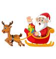 santa riding sledge cartoon vector image