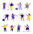 set flat people singers with microphones vector image