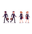 set of businessmen in walking poses rear and vector image