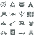 Set of icons for tourism travel and camping vector image