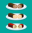 set of swiss roll on dish in flat style vector image vector image