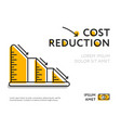 simple graph with cost reduction chart vector image