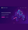 smart city technology with isometric town vector image vector image