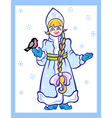 snow girl with bird vector image