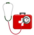 Stethoscope and First Aid Kit vector image