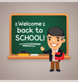 teacher at school blackboard vector image vector image