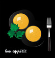 two egg yolks and fork on black background vector image