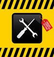 Under Construction Title on Red Label with Spanner vector image vector image