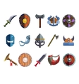 Viking Cartoon Weapon and Equipment Game icons vector image vector image