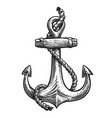vintage anchor with rope hand-drawn sketch vector image