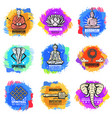 vintage buddhism religion emblems set vector image