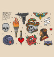 vintage tattoos set vector image